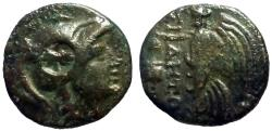 Ancient Coins - Pamphylia. Side AE13 Athena / Nike.  countermark
