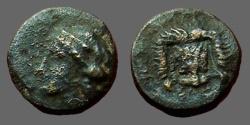 Ancient Coins - Bruttium, Rhegion. Æ11  Facing lion head / Apollo left