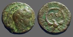 Ancient Coins - Elagabalus AE22, Samaria, Caesarea, Eagle supports wreath