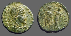 Ancient Coins - Arcadius AE3  Victory holds wreath over Arcadius.  Antioch, Turkey