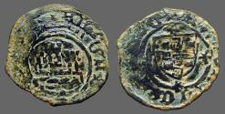 World Coins - Portugal, Alfonso V AE18 Ceitil. Castle, waves below / Coat of Arms.  1438-1481 AD.