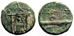 Ancient Coins - Perge, Pamphylia AE15 Cult statue of Artemis in temple / bow & quiver