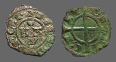 World Coins - Italy, Sicily. Manfred von Hohenstaufen bi denaro. Cross pattee 1258-1266 AD.
