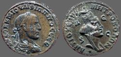 Ancient Coins - Philip I AE28 Antioch, Syria.  turreted & veiled Tyche