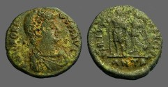 Ancient Coins - Honorius AE3 (18mm) Victory holds wreath over Honorius.  Antioch, Turkey