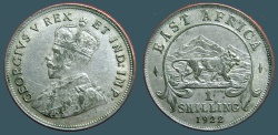 World Coins - East Africa 27mm (1) Schilling. Bust of George V / Lion adv rt.  1922 XF