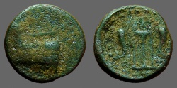 Ancient Coins - Megaris, Megara,  AE14 Galley Prow / Tipod w. dolphin