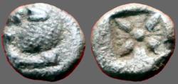 Ancient Coins - Ionia, Miletos AR Diobol. Lion / incuse Stellate pattern