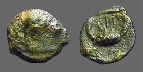 Ancient Coins - Seleucia & Pieria AE10 Antioch on Orontes, bust of Apollo / Lyre.