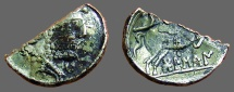 Ancient Coins - Osca Spain, AR Silvered Fourre Denarius.