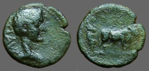 Ancient Coins - Tiberius AE18 Founders plowing with oxen.  Parium, Mysia