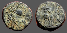 Ancient Coins - Arcadius AE3 (18mm) Victory holds wreath over Arcadius.  Antioch, Turkey