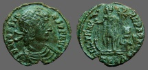 Ancient Coins - Constans AE 1/2 Centionalis; Constans on galley w. Chi Rho labarum