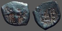 Ancient Coins - Constans II AE19 Follis Constans stg w. globus cruciger & staff w. cross.