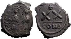 Ancient Coins - Phocas and Leontia  Æ21  1/2 Follis.  Constantinople