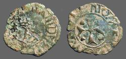World Coins - Fernando II of Navarra billon dinero. Crowned 'F' / Short Cross   1513-1516 AD.