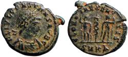 Ancient Coins - Constans as Caesar AE16. 2 soldiers, 1 standard.