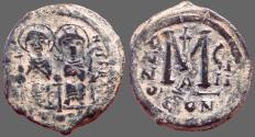 Ancient Coins - Justin II & Sophia AE30 Follis.  Constantinople. year 8.  officiana A