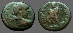 Ancient Coins - Septimius Severus AE18 Herakles wrestles Nemaean Lion.  Marcianopolis, M.I.