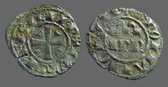 World Coins - Italy, Sicily, billon 17mm Denaro IPR / Cross w. crescents in quartiles