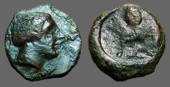 Ancient Coins - Sicily, Syracuse AE12 Onkia.  Female bust / Octopus.