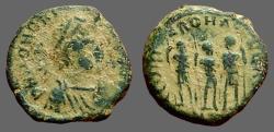 Ancient Coins - Honorius AE3 (14mm) 3 Emperors. Antioch, Turkey   Theodosius II, Aracadius, Honorius stg.