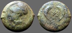 Ancient Coins - Syracuse AE30 Litra. Time of Timoleon. Athena Dolphin, starfish