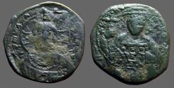 Ancient Coins - Constantine X AE28 Follis  Christ / Bust of Constantine X