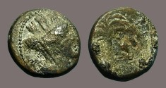 Ancient Coins - Phoenicia, Tyre AE15 Turreted bust of Tyche / Palm Tree.