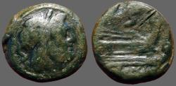 Ancient Coins - Roman Republic, Anonymous AE22 Semis.  Hd of Saturn / Galley Prow