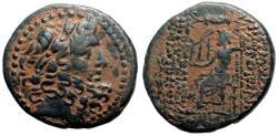 Ancient Coins - Seleicis & Pieria, Antiocheia AE25 Hd. of Zeus / Zeus enthroned, holds Nike