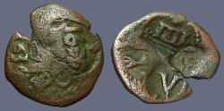 Ancient Coins - Spain AE20 Maravedis w. many nice cntrmrks