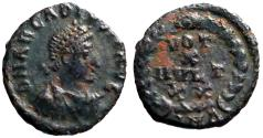 Ancient Coins - Arcadius AE4 Vows in wreath.  VOT/X/MVLT/XX. Antioch mint