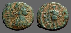 Ancient Coins - Honorius AE4 joint reign issue.  Emperors stg w. spear, hold globe