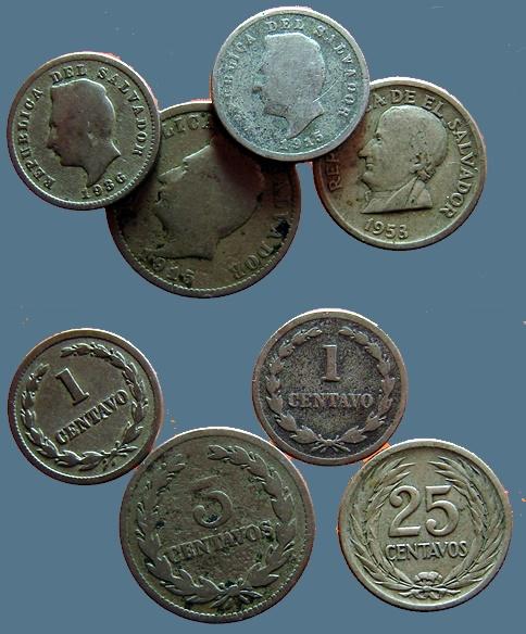 World Coins - 4 coins from El Salvador 1915,1915,1936,1953