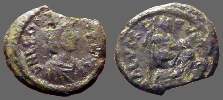Ancient Coins - Leo I AE2 (20mm) Leo w. foot on captive, holds standard