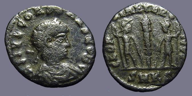 Ancient Coins - Constans as Caesar AE3/4, 2 soldiers, 1 standard.
