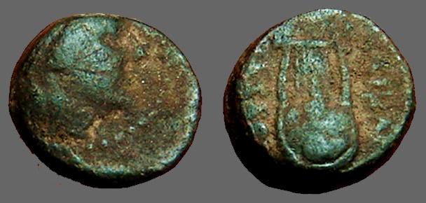 Ancient Coins - Seleukis & Pieria, Antioch Æ15 Artemis / Lyre