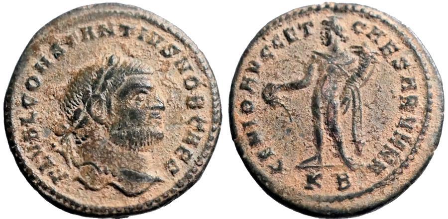 Ancient Coins - Constantius I Caesar AE27 Follis. Genius. Cyzicus