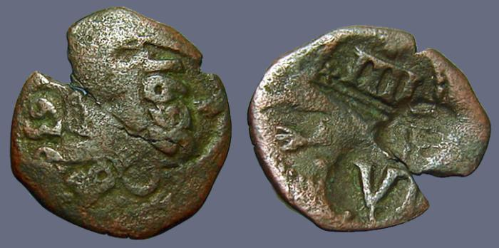 Ancient Coins - Spain AE20 Maravedis w. many nice cntrmrks