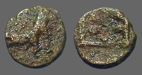 Ancient Coins - Thrace, Maroneia AE13 Horse / Grapes in square