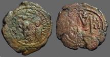 Ancient Coins - Heraclius & H. Constantine AE30 Follis, Constantinople.