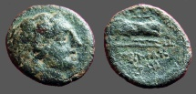 Ancient Coins - Lysimacheia, Thrace AE18. Young Hercules in lion's skin. / Nike w. wreath & palm branch