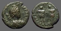 Ancient Coins - Honorius AE3 (16mm)  Honorius & Theodosius II w. globe between them.
