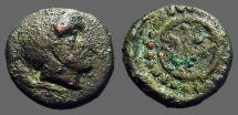 Ancient Coins - Thrace, Mesembria. AE13 Thrace, Mesembria. Hd of Athena right / META in the spokes of a wheel