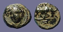 Ancient Coins - Ionia, Phygela AE10. Artemis Munychia facing slightly left / Bull butting right.