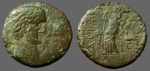 Trajan AE26 Judaea, Ascalon. Tyche-Astarte on galley