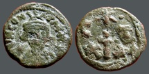 Ancient Coins - Constans II AE19 Half Follis Carthage.  Large cross dividing C-T and X-X