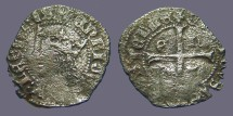 Ancient Coins - Enrique II Cruzado, Castilia & Leon. Bust of Enrique II / Long Cross