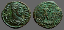 Ancient Coins - Constans AE 1/2 Centionalis; Constans on galley w.  labarum
